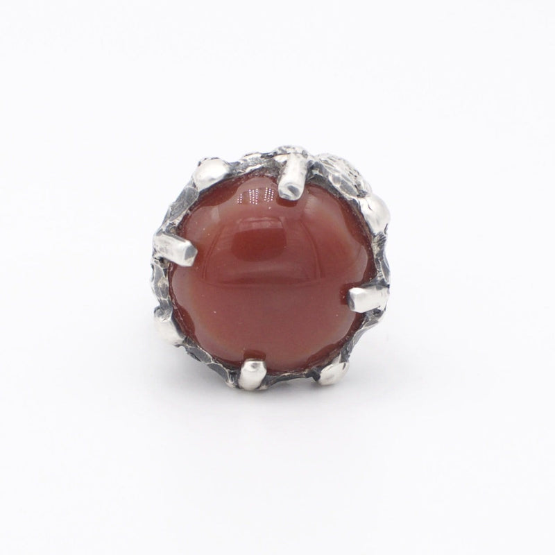 Men´s ring Carnelian stone with skulls
