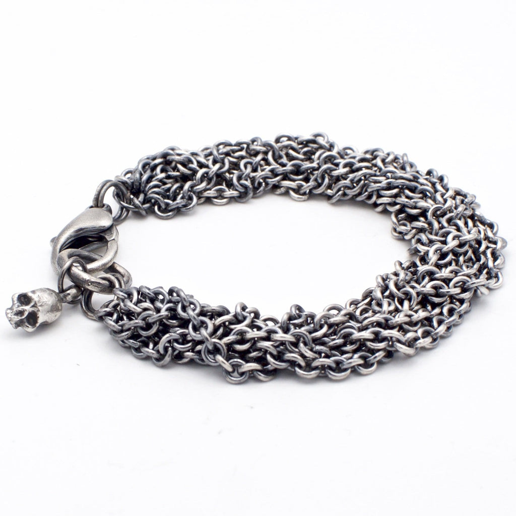 Men  bracelet braid chain with skull