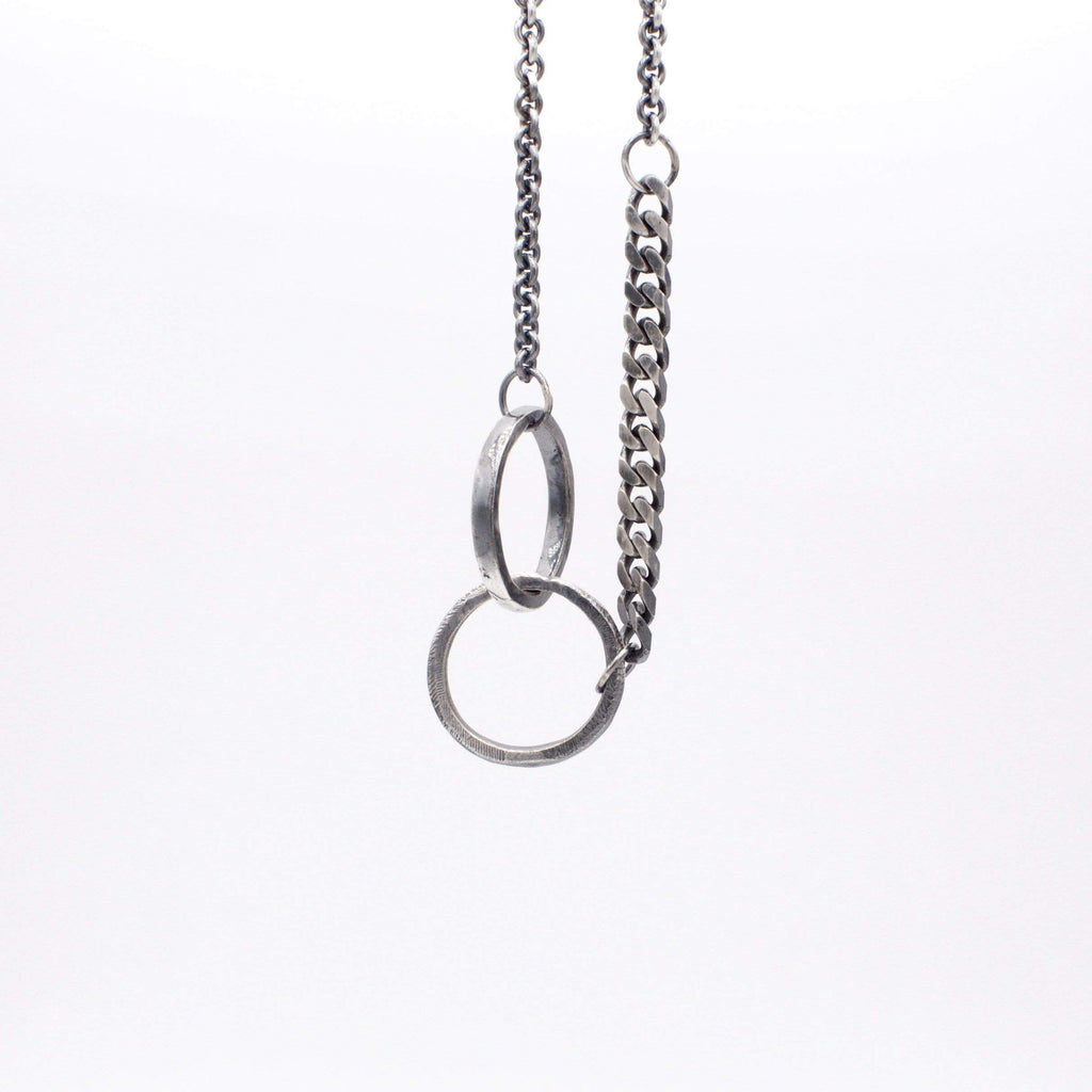 Mens necklace double ring chain