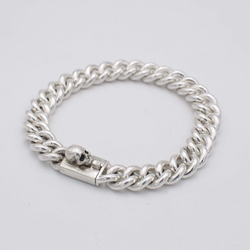Men´s bracelet curb chain with skull