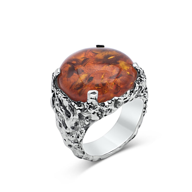 Men's amber signet ring