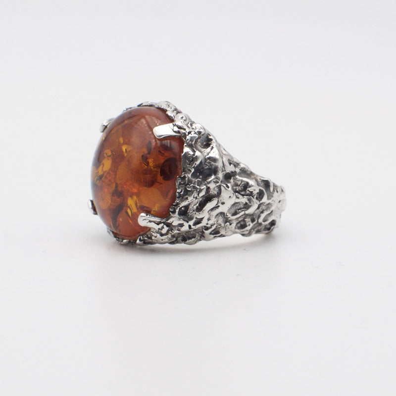 Men's signet ring Baltic amber