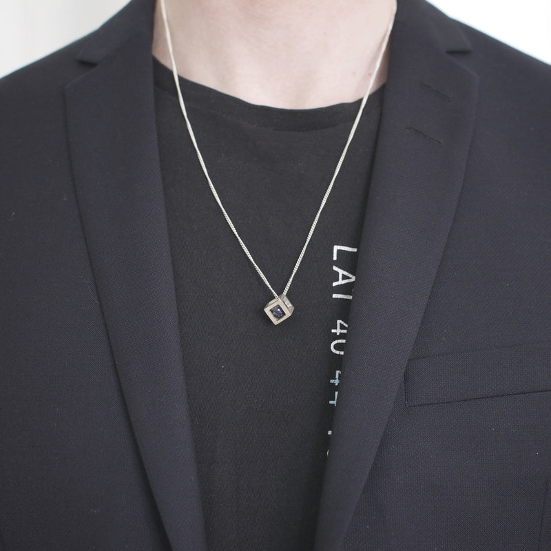 Men's necklace Pendant cube on model