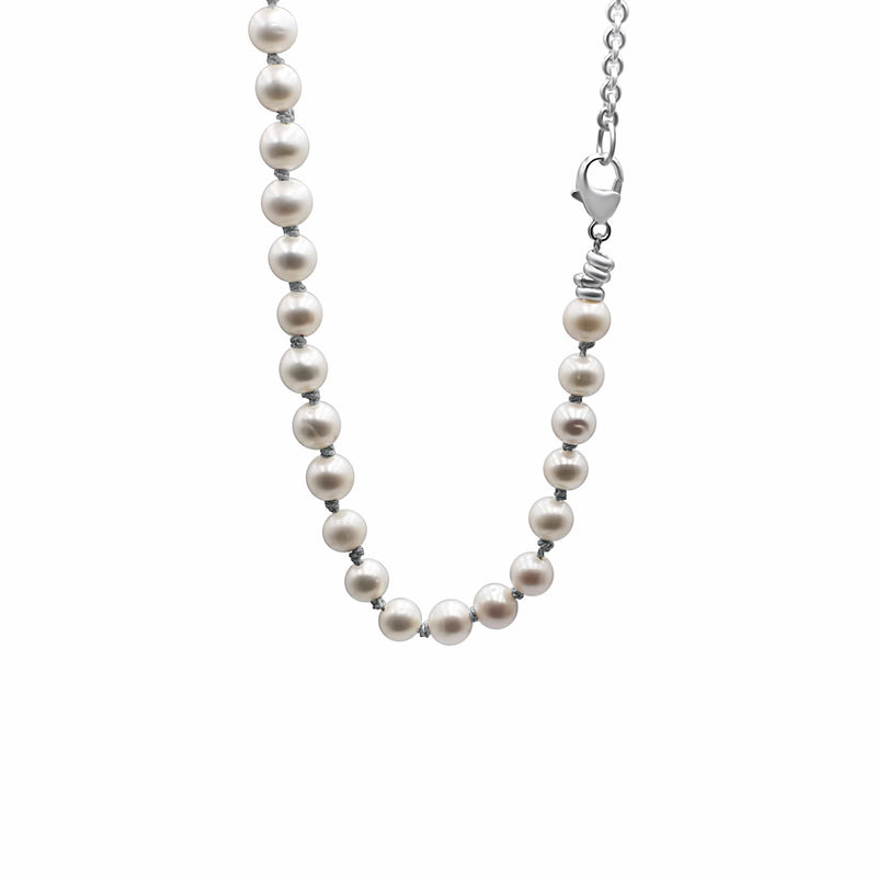 Men's necklace freshwater pearls, silver chain.