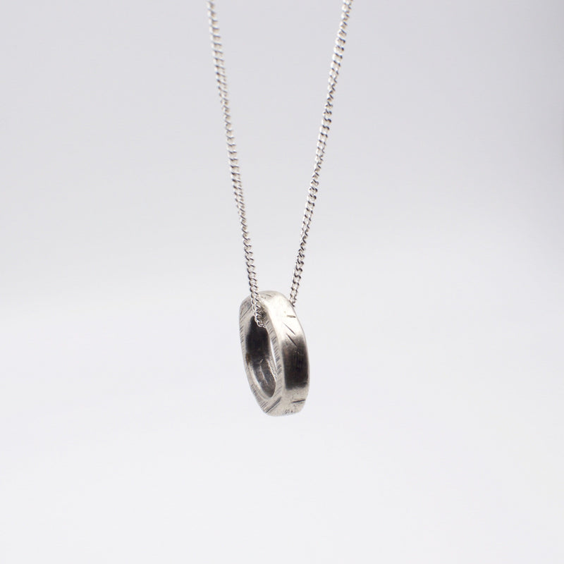 Men's necklace in solid sterling with ring pendant