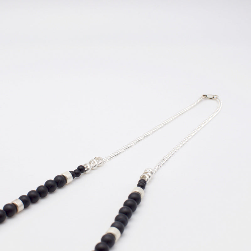 Men´s necklace black stone beads and silver with sterling silver chain