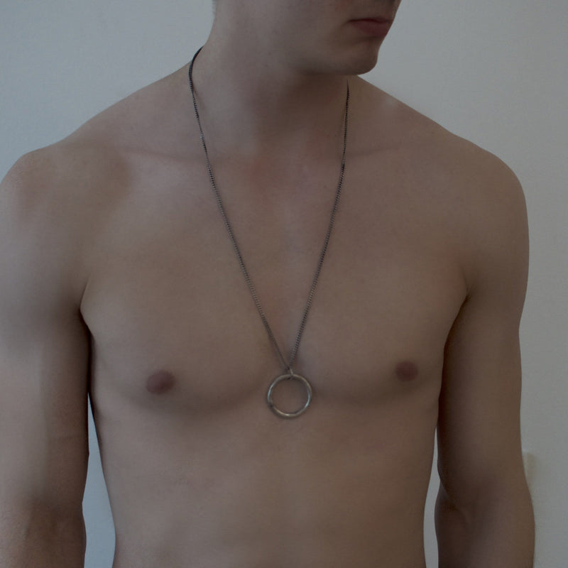 Men's necklace in solid sterling silver on model