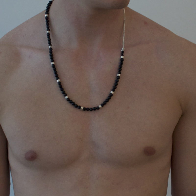 Men´s necklace black stone beads and silver with sterling silver chain on model