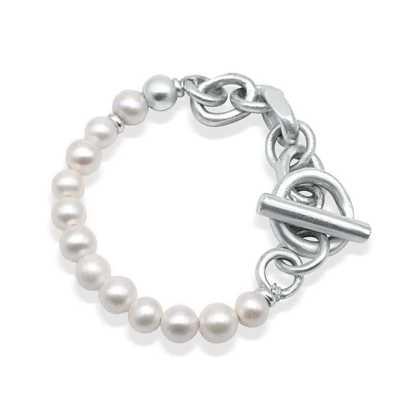 Men´s bracelet withe fresh water pearls and solid sterling silver link