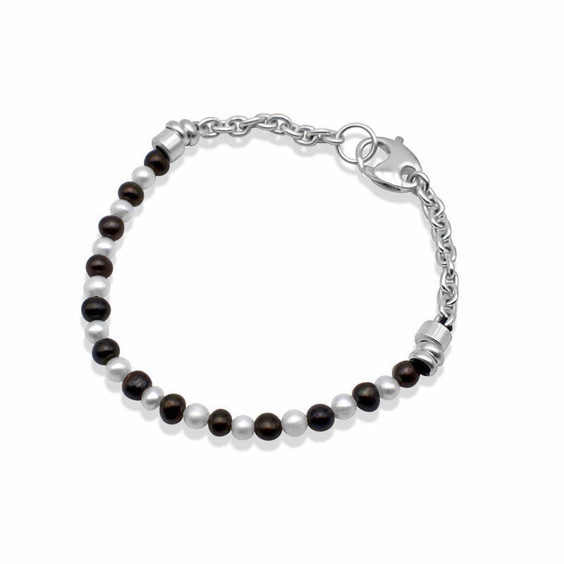 Mens bracelet with fresh water black and white pearls