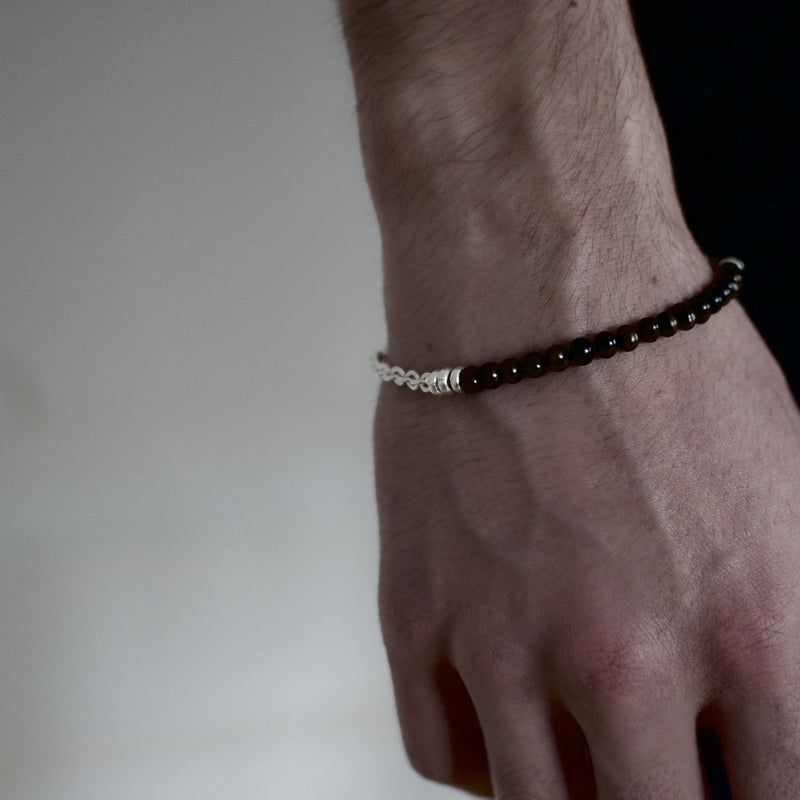 Mens bracelet with fresh water black pearls and sterling silver chain