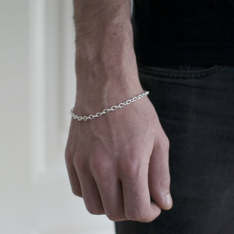 Men´s bracelet thin chain in sterling silver model