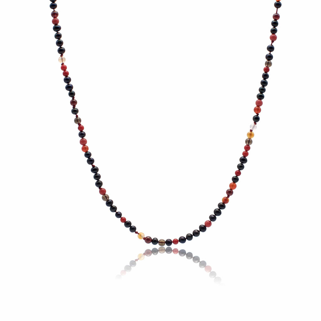 Necklace with freshwater pearls black, red agate, red topaz, red marble, red coral, coraline,garnet.