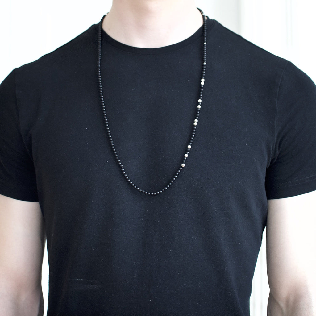 Men´s necklace with black agate and sterling silver beads