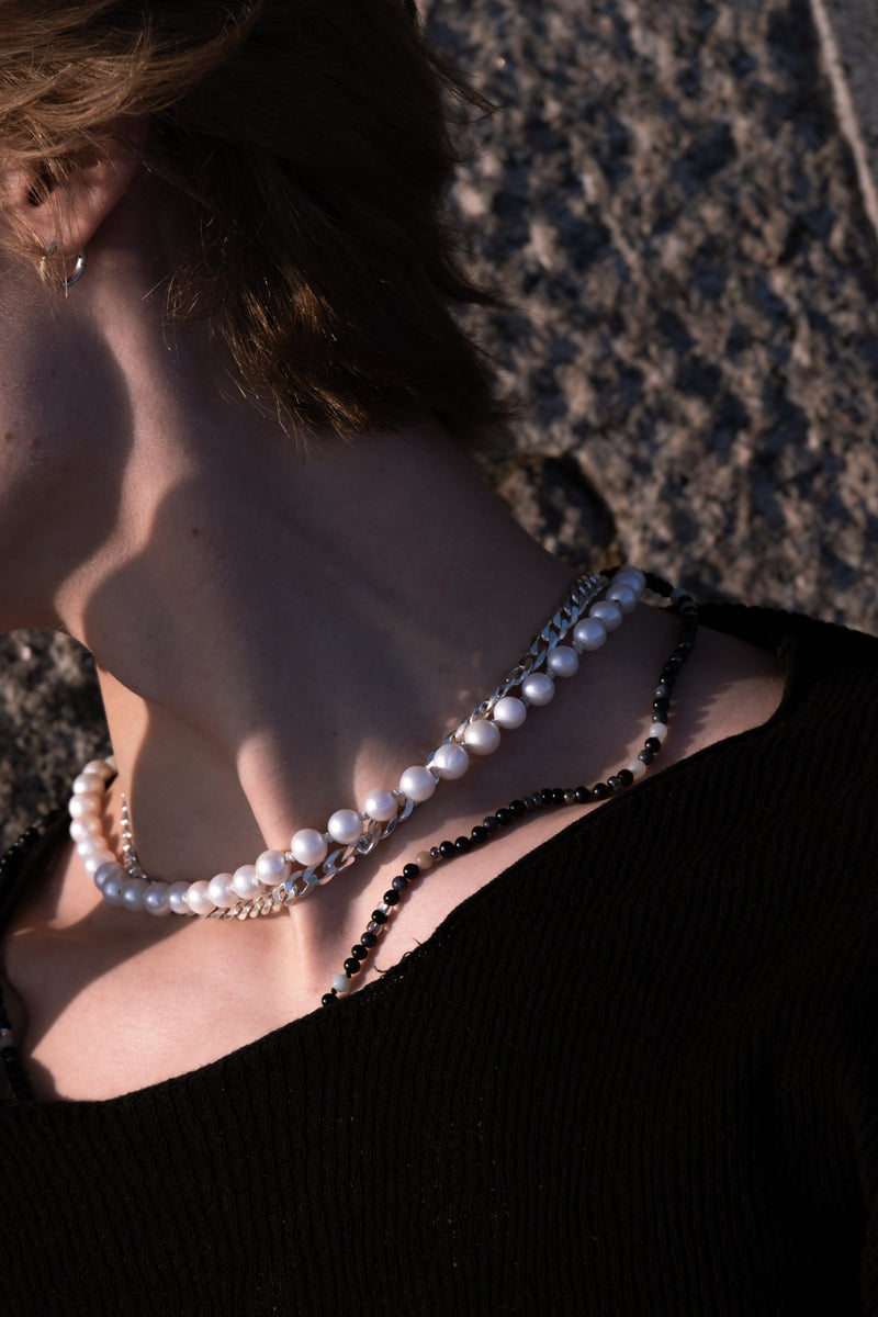 Men's necklace freshwater pearls, silver chain.On model