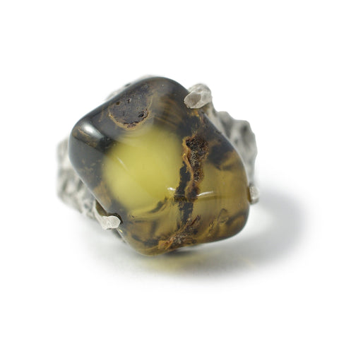 Green Baltic amber ring