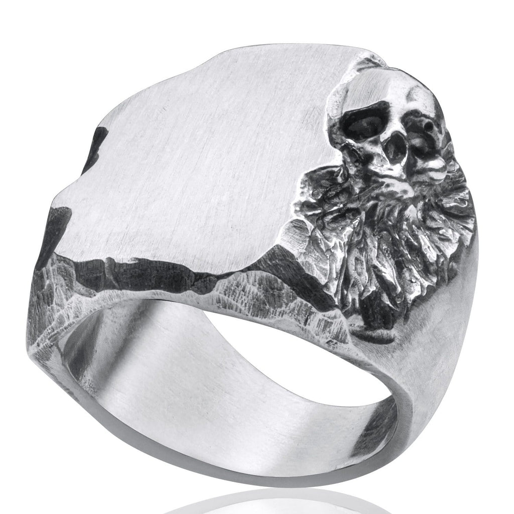 Skull ring Signet carved big