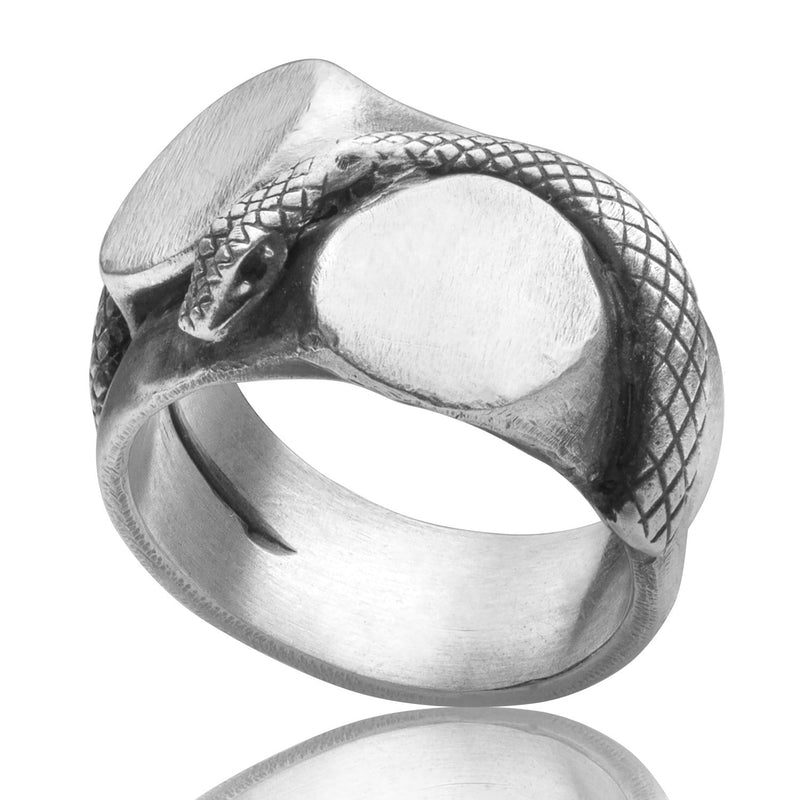 Men's ring Signet multiple snake