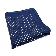 PickaPocket Men's Accessories Blue and White Polka Dot Pocket Sqaure