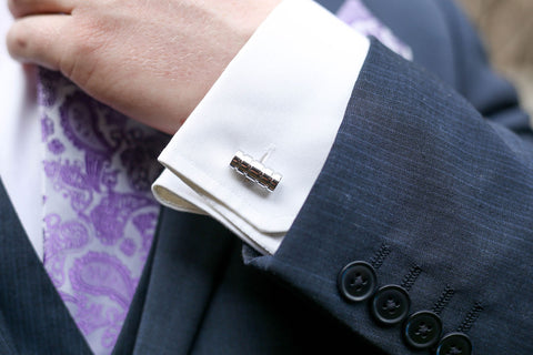 PickaPocket Men's Cufflinks Plain Silver Barrel