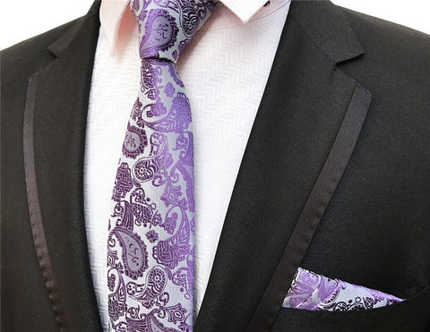 PickaPocket Purple Paisley Wedding Tie Set