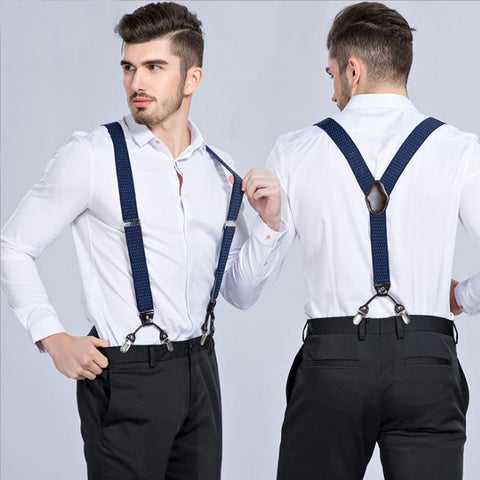 PickaPocket Men's accessories blue and white suspender braces
