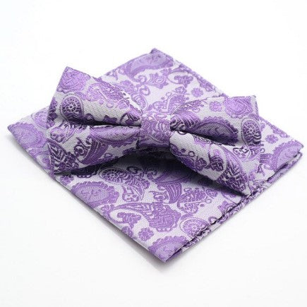 PickaPocket Purple Paisley Wedding Bow Tie