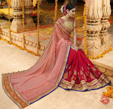 Sari Designer Mariage Rose & Rouge Bhoomika @ narkisfashion.fr