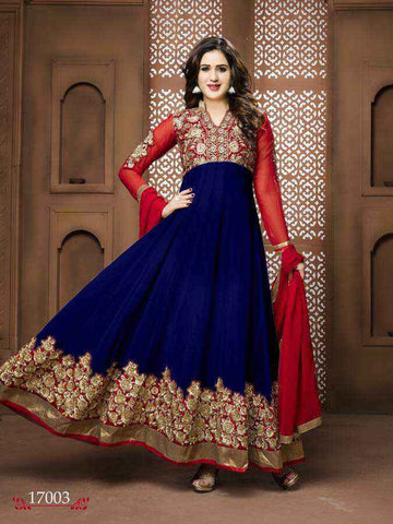 Bollywood Salwar Anarkali Bleu Marine Mastani - Narkis Fashion