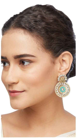 Boucles Indiennes Turquoise Suguna - Narkis Fashion