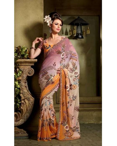 Sari Bollywood Sulekha tricolore orange, Mauve et Beige