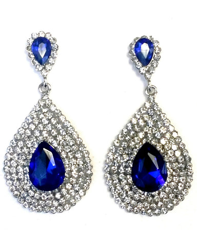 Boucles d'oreilles Style Bollywood Samantha Bleu - Narkis Fashion