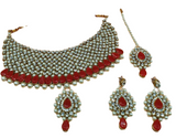 Parure Indienne rouge perle Inaya - Narkis Fashion