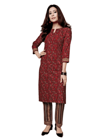 Ensemble coton bordeaux Ilyana - 40 et 42 - Narkis Fashion