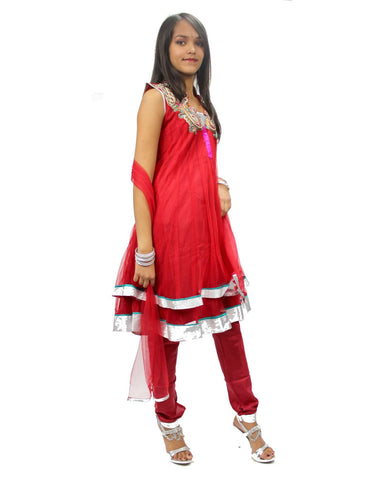 Robe Indienne Fille Rouge Malathi  7 ans - Narkis Fashion