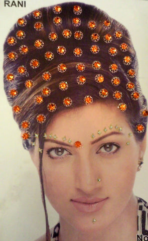Bijou autocollant Indien Strass Orange - Narkis Fashion