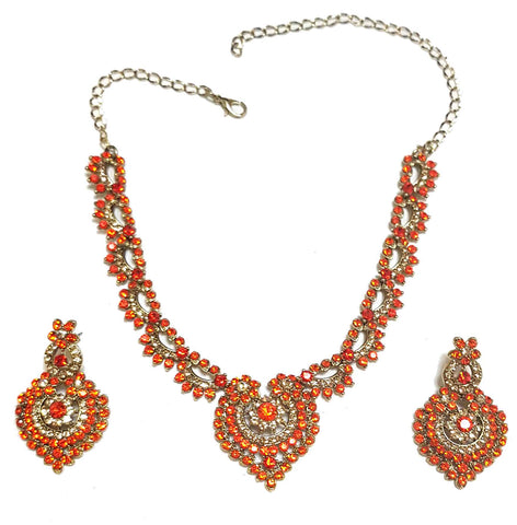 Parure Bollywood Orange doré Nasrine - Narkis Fashion