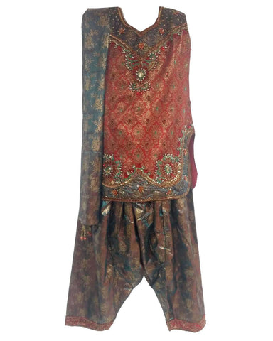 Robe Indienne Fille Rouge et Gris 4, 5 et 6 ans - Narkis Fashion