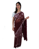 Pleets Sari Bollywood Bordeaux Sujita - Narkis Fashion