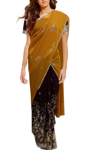 Sari Prêt Jayanthi Moutarde et Marron - Taille 36/42 ajustable - Narkis Fashion