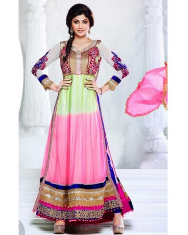Salwar Bollywood Célébrité Shilpa Shetty Anarkali Multicolore