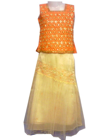 Lehenga choli Fille Shruthi - Beige et Orange - 3 ans - Narkis Fashion