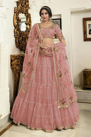 Lehenga bollywood rose clair Shahina - Narkis Fashion