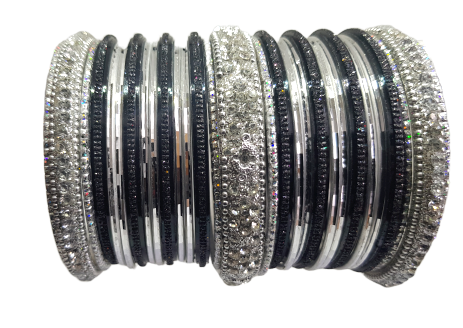 Bracelets Bollywood Noir argenté - Narkis Fashion
