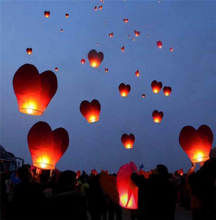 Sky Lantern - Red Heart Shaped