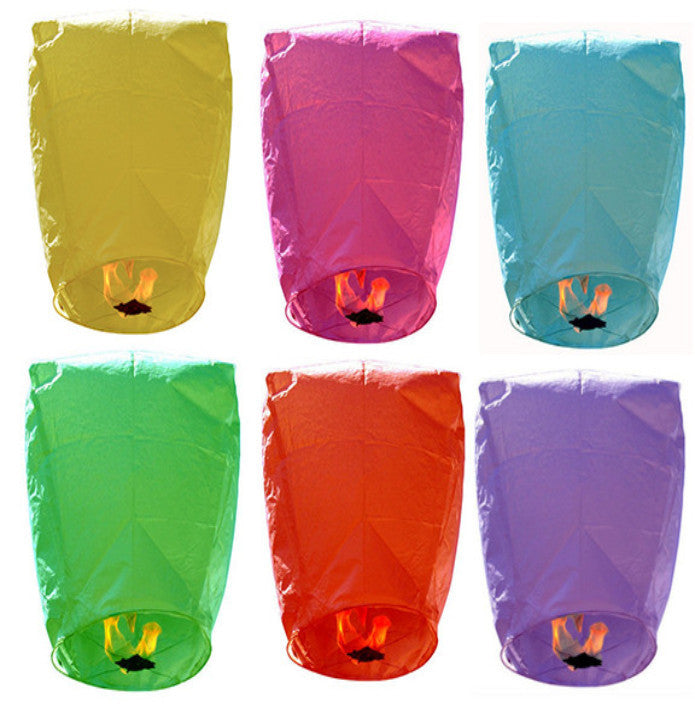 Sky Lanterns - 6 Assorted Colors