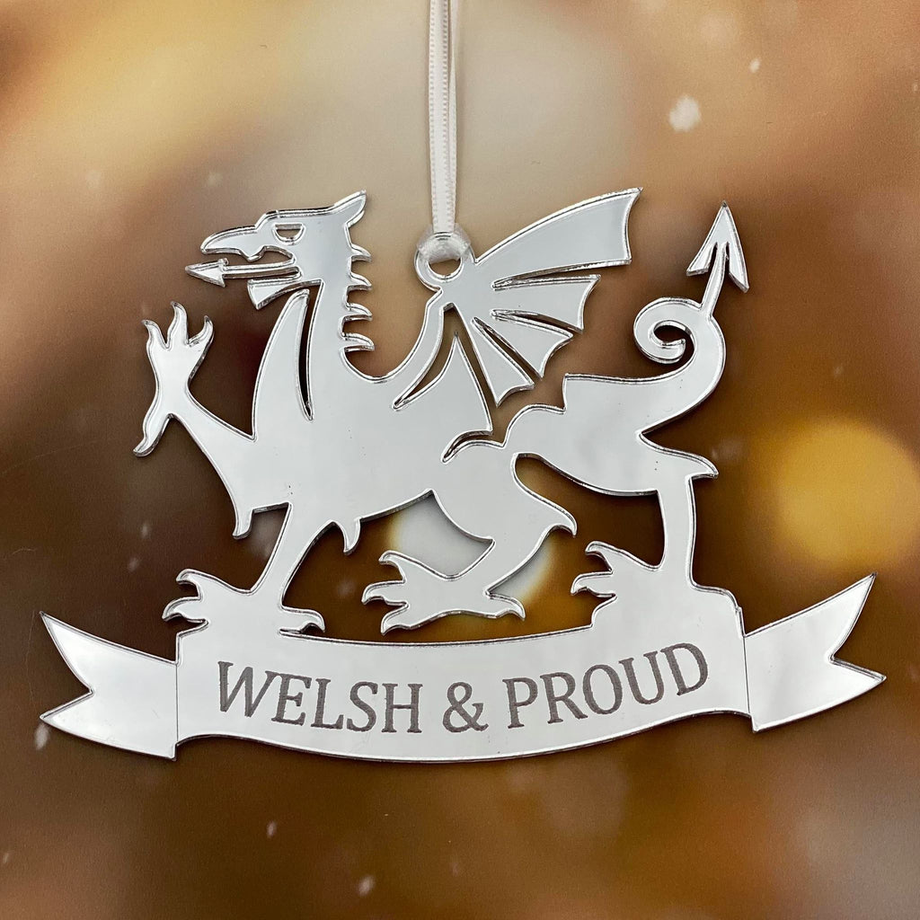 Welsh & Proud  Mirror Christmas Decoration