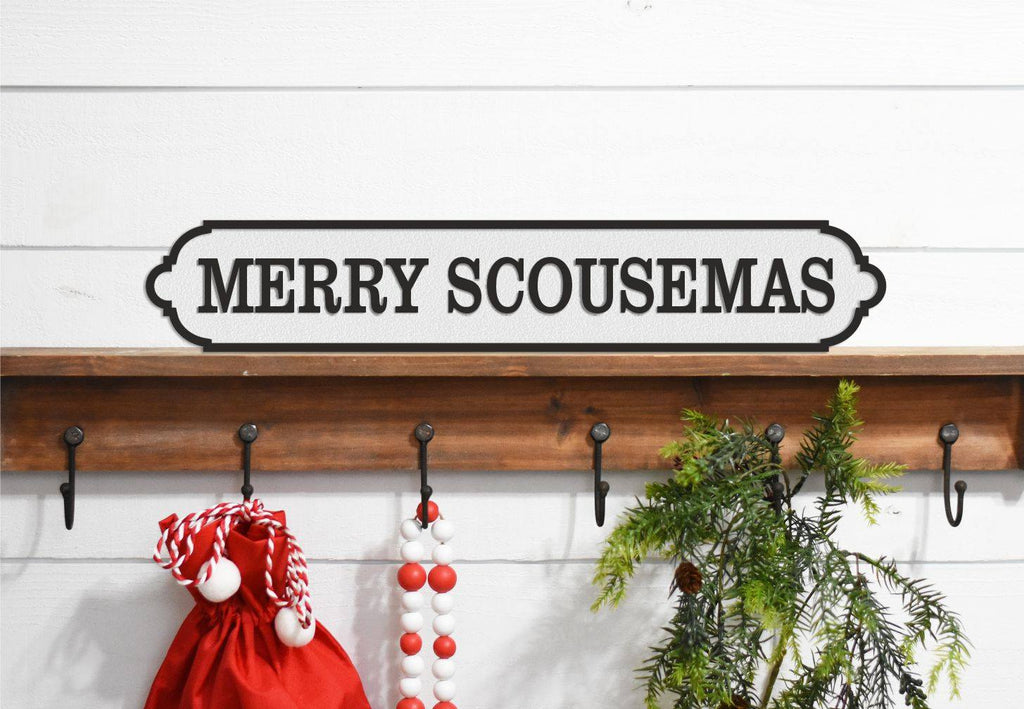 MERRY SCOUSEMAS Christmas Sign  Acrylic Street Sign. Road Sign, waterproof, indoors, outdoors, freestanding.