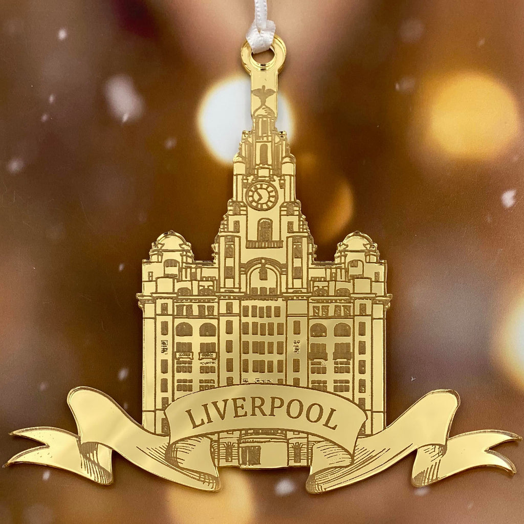 Liverpool Liver Building  Mirror Christmas Decoration