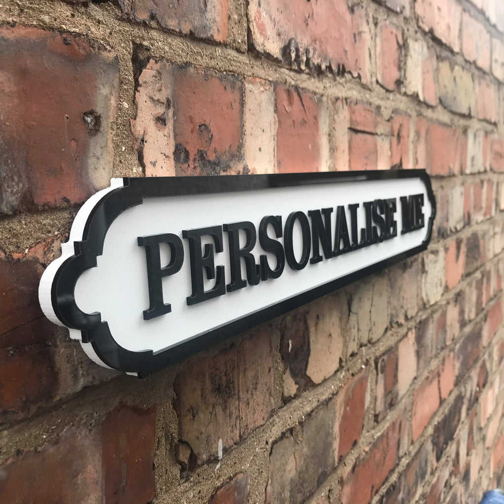 Personalise this sign.  Medium Acrylic Street Sign. Road Sign, waterproof, indoors, outdoors, freestanding